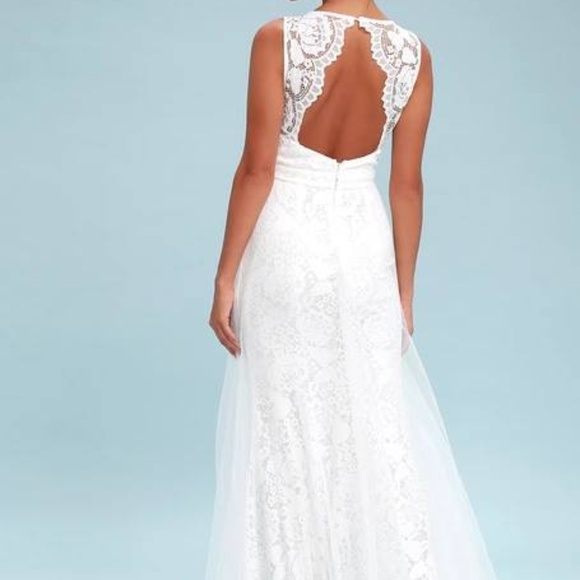 caede4eedc2 Lulus Sonnet White Lace Backless Maxi Dress